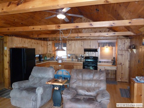 Cathedral ceiling and knotty pine throughout